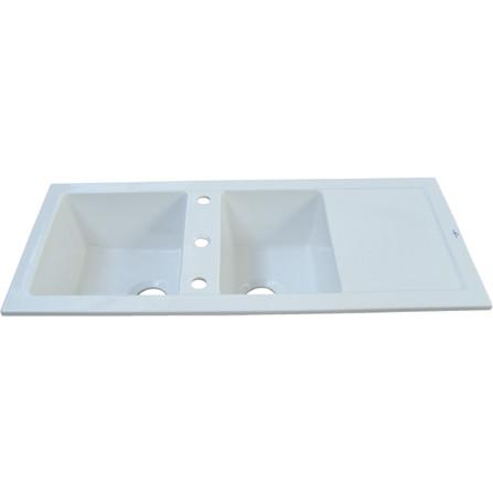Evier céramique lingot blanc 2 cuves+égouttoir